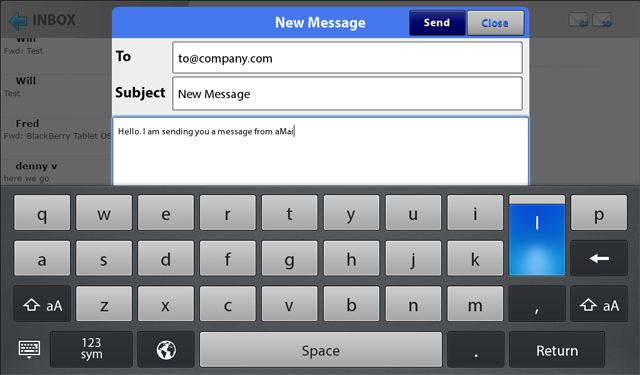 aMail create new message on playbook
